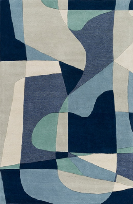 6' x 9' Arte Astratto Blue and Gray Hand Tufted Rectangular Wool Area Throw Rug - IMAGE 1