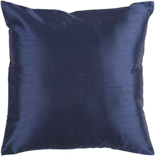 "22"" Navy Blue Solid Square Contemporary Throw Pillow Cover - IMAGE 1"