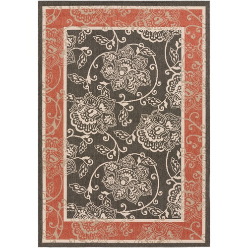 8.75' x 12.75' Red and Black Floral Rectangular Area Throw Rug - IMAGE 1