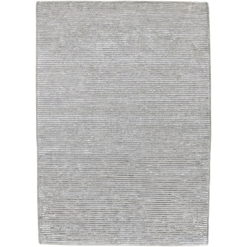 2' x 3' Solitary Dove Gray Hand Knotted Rectangular Area Throw Rug - IMAGE 1