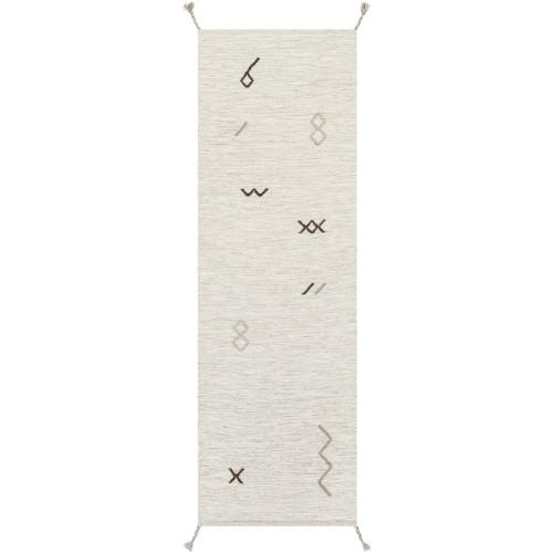 2.5' x 8' Smoke Signals Gray and Black Hand Woven Area Throw Rug Runner - IMAGE 1