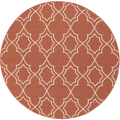 8.75' Red and White Contemporary Round Area Throw Rug - IMAGE 1