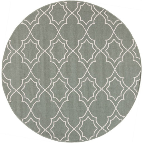 8.75' Gray and Beige Contemporary Round Area Throw Rug - IMAGE 1