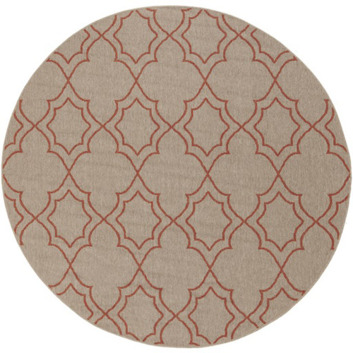 5.25' Gray and Burgundy Red Contemporary Outdoor Area Throw Rug - IMAGE 1