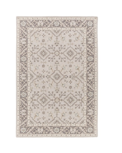 6' x 9' Medallion Brown and Gray Hand Tufted Rectangular Wool Area Throw Rug - IMAGE 1