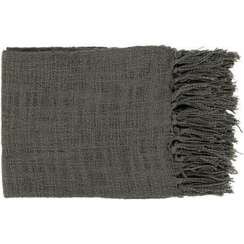 "Gray Fringed Rectangular Throw Blanket 51"" x 59"" - IMAGE 1"