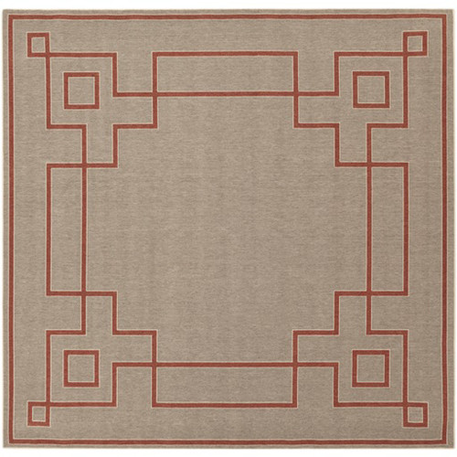 8.75' x 8.75' Brown and Red Contemporary Machine Woven Square Outdoor Area Throw Rug - IMAGE 1