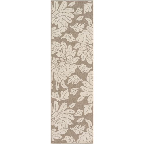 2.25' x 11.75' Taupe Brown and Beige Floral Shed-Free Area Throw Rug Runner - IMAGE 1