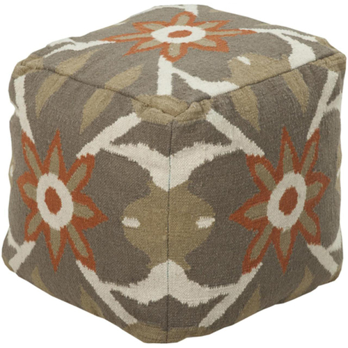 "18"" Sandy Taupe and Ivory Desert Sun Wool Square Pouf Ottoman - IMAGE 1"