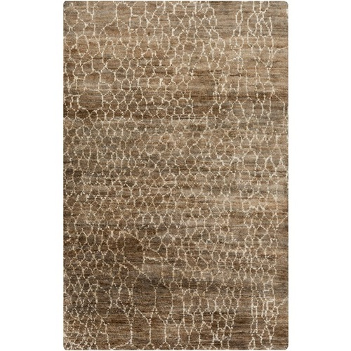 2' x 3' Brown and White Torn Mesh Hand Knotted Area Throw Rug - IMAGE 1