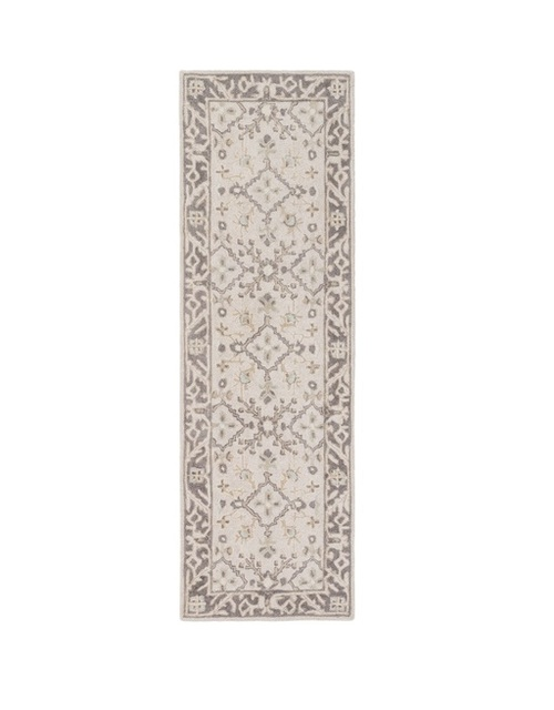 2.5' x 8' Medallion Brown and Gray Hand Tufted Rectangular Wool Area Throw Rug Runner - IMAGE 1