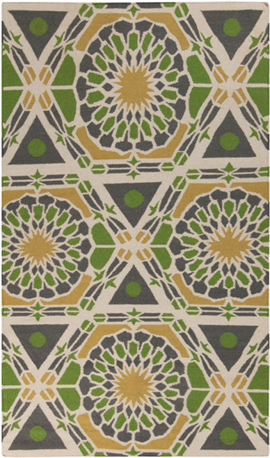 2' x 3' Floral Kiwi Green and Yellow Hand Woven Wool Area Throw Rug - IMAGE 1