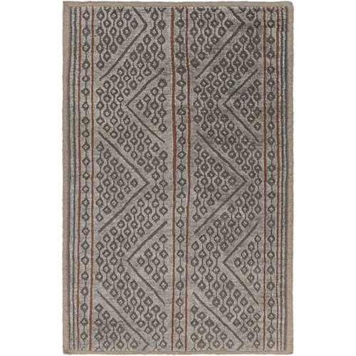 2' x 3' Zigzag Brown and Gray Hand Knotted Wool Area Throw Rug Runner - IMAGE 1