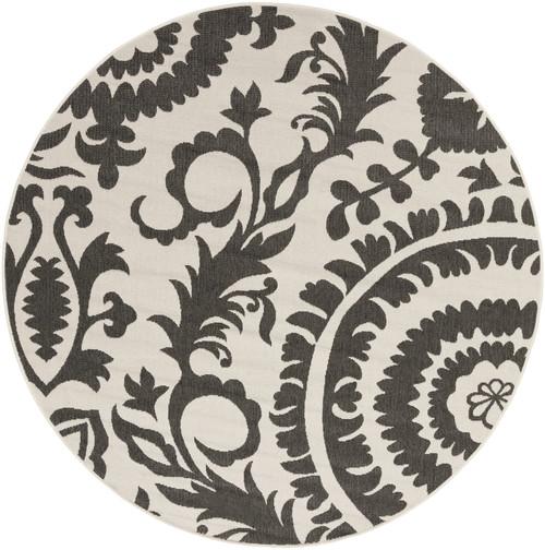 8.75' Black and Cream White Outdoor Round Area Throw Rug - IMAGE 1