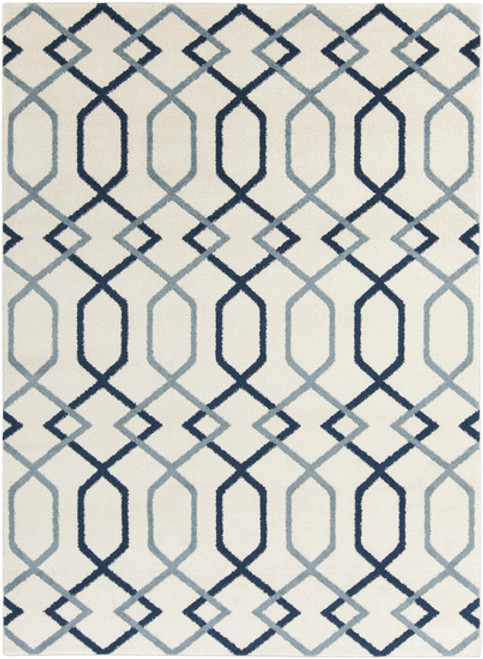 9.25' x 12.5' Entwine Passions Blue and Ivory White Rectangular Area Throw Rug - IMAGE 1
