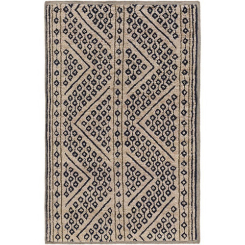 2' x 3' Crossroads Caramel Brown and Navy Blue Hand Knotted Area Throw Rug - IMAGE 1