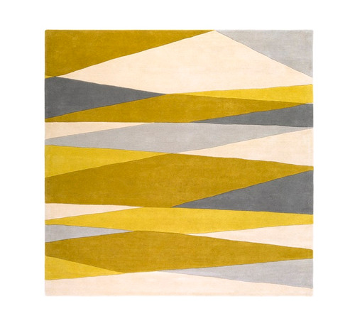 6' X 6' Gold Yellow and Slate Gray Hand Tufted Square Wool Area Throw Rug - IMAGE 1