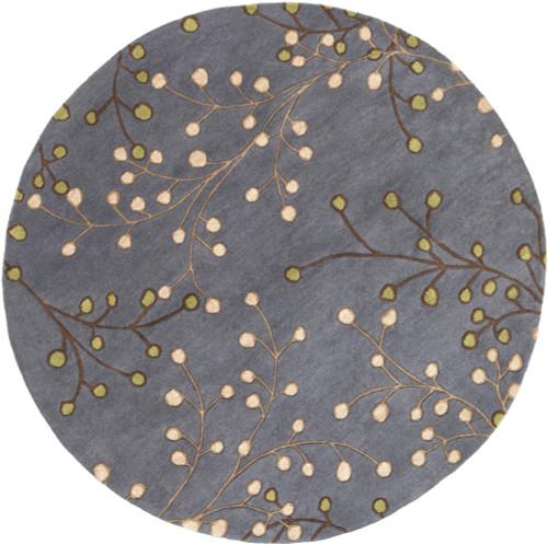 6' Gray, Brown, and Beige Round Decorative Fair Enoki Area Throw Rug - IMAGE 1