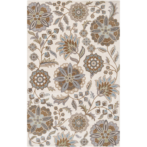 8' x 10' Brown and Gray Floral Oval Area Throw Rug - IMAGE 1