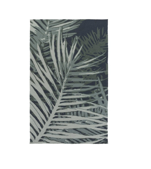 2' x 3' Blue and Gray Tropical Rectangular Outdoor Area Throw Rug - IMAGE 1