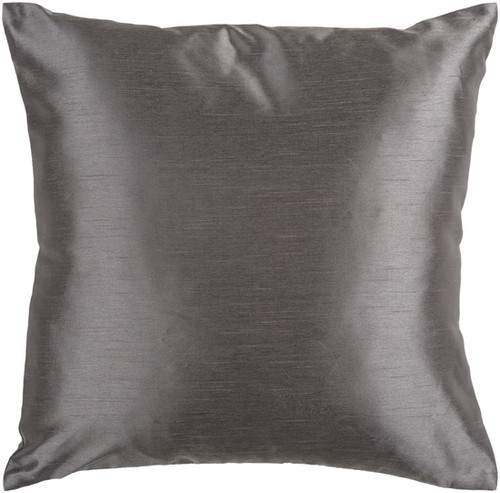 "22"" Charcoal Gray Solid Square Contemporary Throw Pillow Cover - IMAGE 1"