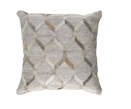 """18"""" Gray and Eggshell White Rustic Animal Patterned Decorative Throw Pillow-Down Filler - IMAGE 1"""
