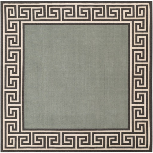 8.75' x 8.75' Grecian Labyrinth Mossy Stone Green and Sandy Beige Square Shed-Free Area Throw Rug - IMAGE 1