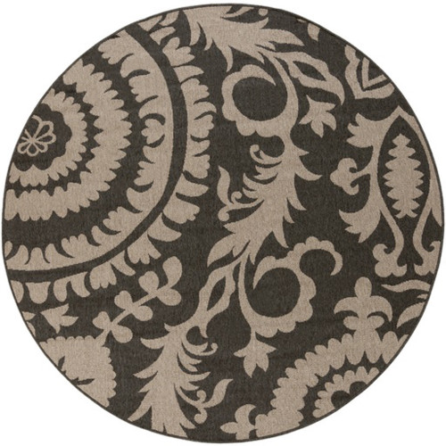 8.75' Black and Brown Floral Shed-Free Round Area Throw Rug - IMAGE 1