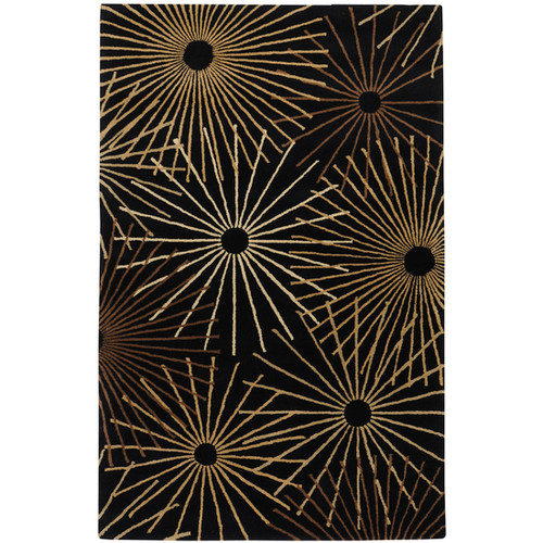 5' x 8' Black and Brown Sunburst Hand Tufted Rectangular Area Throw Rug - IMAGE 1