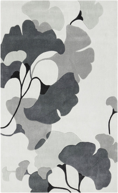 8' x 11' Moonflora Charcoal Black and Gray Hand Tufted Rectangular Area Throw Rug - IMAGE 1