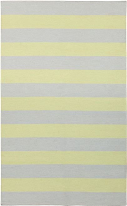 2' x 3' Striped Gray and Green Hand Woven Rectangular Wool Area Throw Rug - IMAGE 1