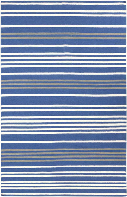 2' x 3' Blue and White Stripe Pattern Hand-Woven Wool Area Throw Rug - IMAGE 1