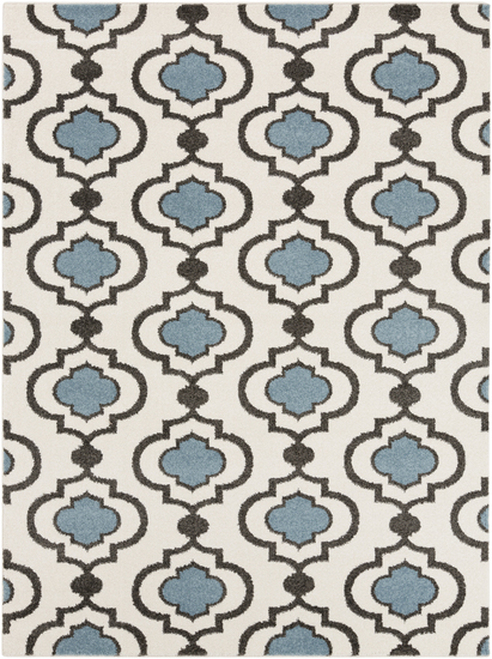 9.25' x 12.5' Spaded Flush Pristine White and Stone Blue Rectangular Area Throw Rug - IMAGE 1