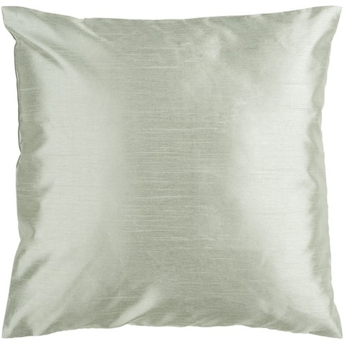 "22"" Gray Solid Square Contemporary Throw Pillow - Down Filler - IMAGE 1"