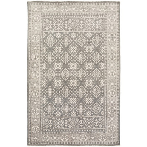 8' x 11' Traditional Gray and Blue Hand Knotted Wool Area Throw Rug - IMAGE 1