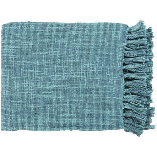 "49"" x 59"" Summertime Breeze Ocean Blue and Teal Fringed Throw Blanket - IMAGE 1"