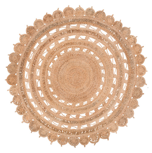 8' Solar Labyrinth Tumbleweed Brown Round Hand Woven Reversible Area Throw Rug - IMAGE 1