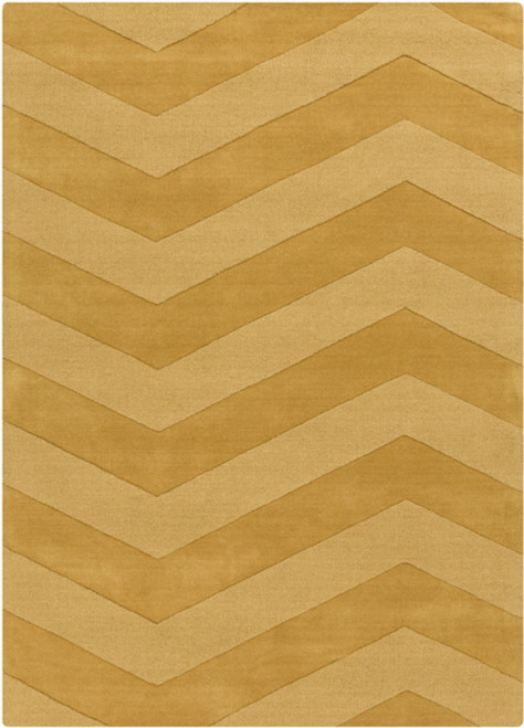 2' x 3' Brown and Gold Contemporary Hand Loomed Rectangular Area Throw Rug - IMAGE 1