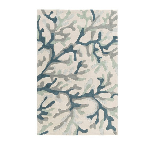 9' x 13' Contemporary Teal Blue and Ivory Hand Tufted Area Throw Rug - IMAGE 1