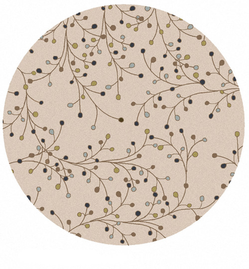 4' Beige Contemporary Hand Tufted Round Wool Area Throw Rug - IMAGE 1