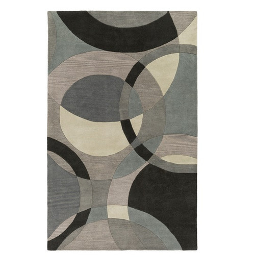 6' x 9' Senzei Spheres Gray and Black Hand Tufted Rectangular Wool Area Throw Rug - IMAGE 1