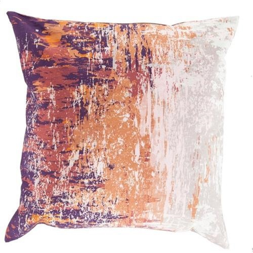 """22"""" Brown and White Contemporary Square Throw Pillow Cover - IMAGE 1"""