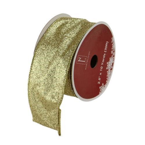 "Shimmering Metallic Gold Ribbed Wired Craft Ribbon 2.5"" x 10 Yards - IMAGE 1"