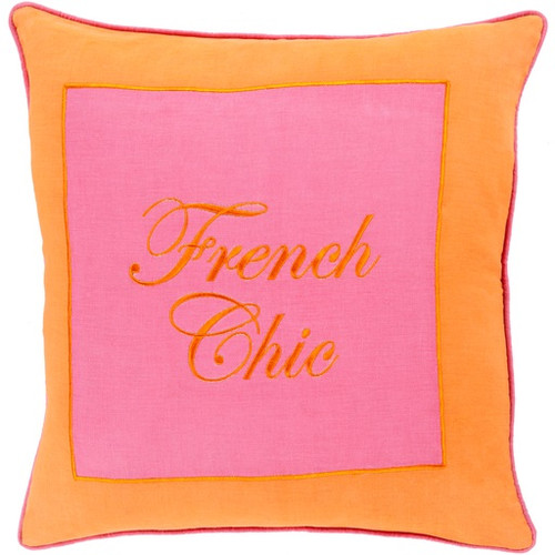 "18"" Tangerine and Sunset Pink 'French Chic' Square Throw Pillow - Down Filler - IMAGE 1"