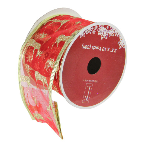 """Red and Gold Glittering Reindeer Wired Christmas Craft Ribbon 2.5"""" x 10 Yards - IMAGE 1"""