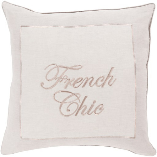 """18"""" Lilac Purple and Beige 'French Chic' Square Throw Pillow - Down Filler - IMAGE 1"""