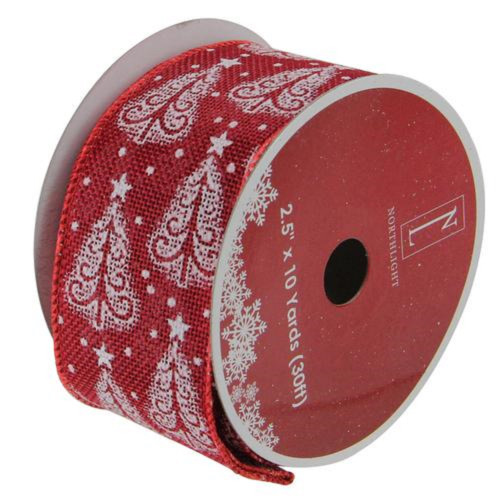 """Cranberry Red and White Trees Burlap Wired Christmas Craft Ribbon 2.5"""" x 10 Yards - IMAGE 1"""
