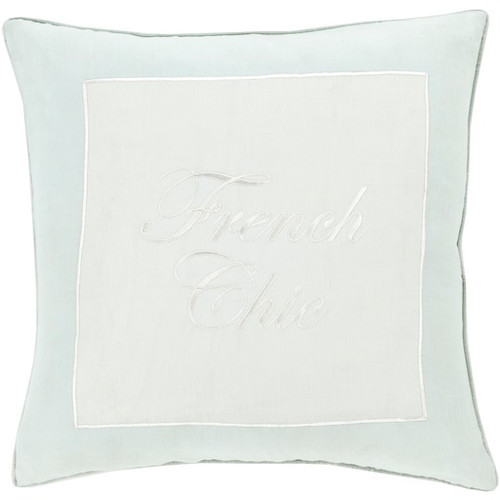 "22"" Snow White and Tiffany Blue 'French Chic' Square Throw Pillow - IMAGE 1"