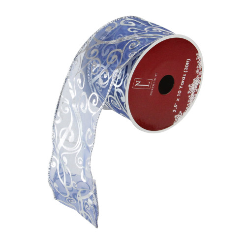 """Blue and Silver Abstract Swirls Christmas Wired Craft Ribbon 2.5"""" x 10 Yards - IMAGE 1"""
