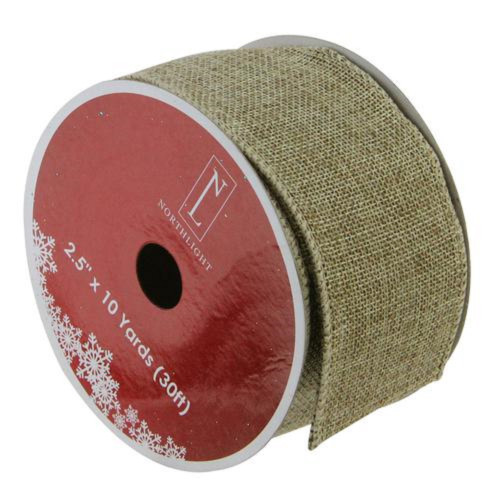 """Faded Green and Brown Burlap Christmas Wired Craft Ribbon 2.5"""" x 10 Yards - IMAGE 1"""